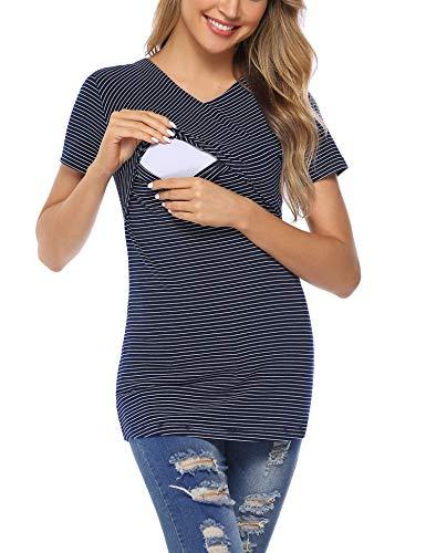 Aibrou Allaitement Court Manche - 95% Coton Femmes Vêtements de Maternité Haut Grossesse Haut de Allaitement T-Shirt de Superposition, Bleu Foncé, S