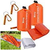 2 Packs Emergency Survival Sleeping Bag with Stuff Sack and Whistle,Waterproof Thermal Emergency Sleeping Bags Multi-Purpose Survival Gear for Camping,Hiking,Wild Adventures,Outdoor Survival Gear