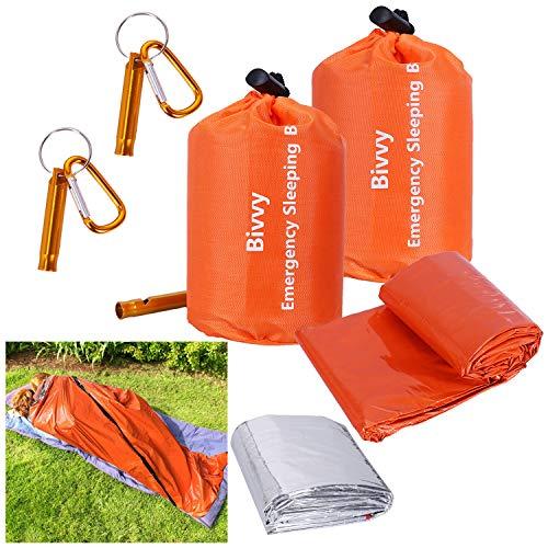 2 Packs Emergency Survival Sleeping Bag with Stuff Sack and Whistle,Waterproof Thermal Emergency Sleeping Bags Multi-Purpose Survival Gear for Camping,Hiking,Wild Adventures,Outdoor Survival Gear