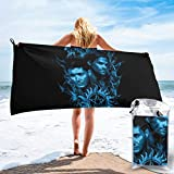 Sam and Dean Blue Flame Supernatural Microfiber Large Beach Towel, Convenient and Foldable, Equipped with Carabiner for Easy Storage, Soft Bath Towel, Quick-Drying Shower Towel