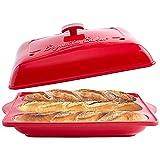 Bruntmor Porcelain Oven to Table Long French Bread - Baguette Baker3 Waves Loaf Bake Mold Baking for Professional & Home Bakers, Red