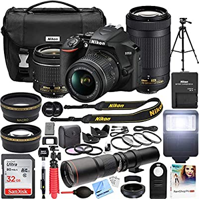 Nikon D3500 DSLR Camera with 2 Lens NIKKOR AF-P DX 18-55mm f/3.5-5.6G VR and 70-300mm f/4.5-6.3G ED Dual Zoom Lens Bundle with 500mm Preset f/8 Telephoto Lens and Accessories (22 Items) by Nikon