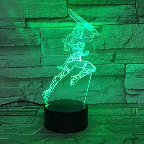 Hobbys3D781 - Figura de acción con luz LED 3D para niños, con USB y 7 colores