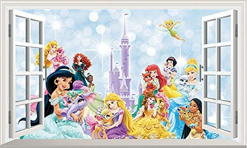Chicbanners V1500003 - Adhesivo decorativo para pared, diseño de princesas Disney Princess Princesses Princesas V1500003 (1500 mm de ancho x 850 mm de profundidad)