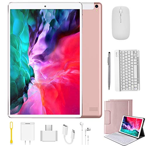 Tablet 10.1 Pulgadas 4G Android 9.0 Quad Core DUODUOGO P8 Tablet Baratas 4GB RAM 64GB ROM/128GB Escalables 8000mAh Dual SIM/Cámara Tablet PC Google GMS Netfilx OTG (Estándar + Teclado y Mouse, Rosado)