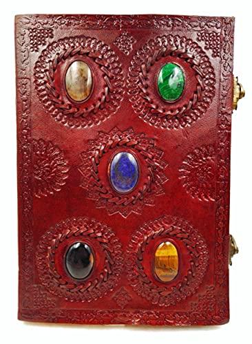 Kooly Zen – Cuaderno de diario, libro, álbumes, bloc de notas, cuaderno de dibujo o de bocetos, piel auténtica, 5 piedras semipreciosas, 2 cierres, 18 cm x 25 cm, papel premium