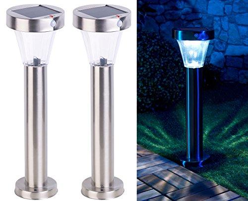 Lunartec Gartenleuchten: 2er-Set Solar-Wegeleuchte, Edelstahl, Bewegungs- & Licht-Sensor, IP44 (Wegeleuchten Solar Bewegungsmelder)