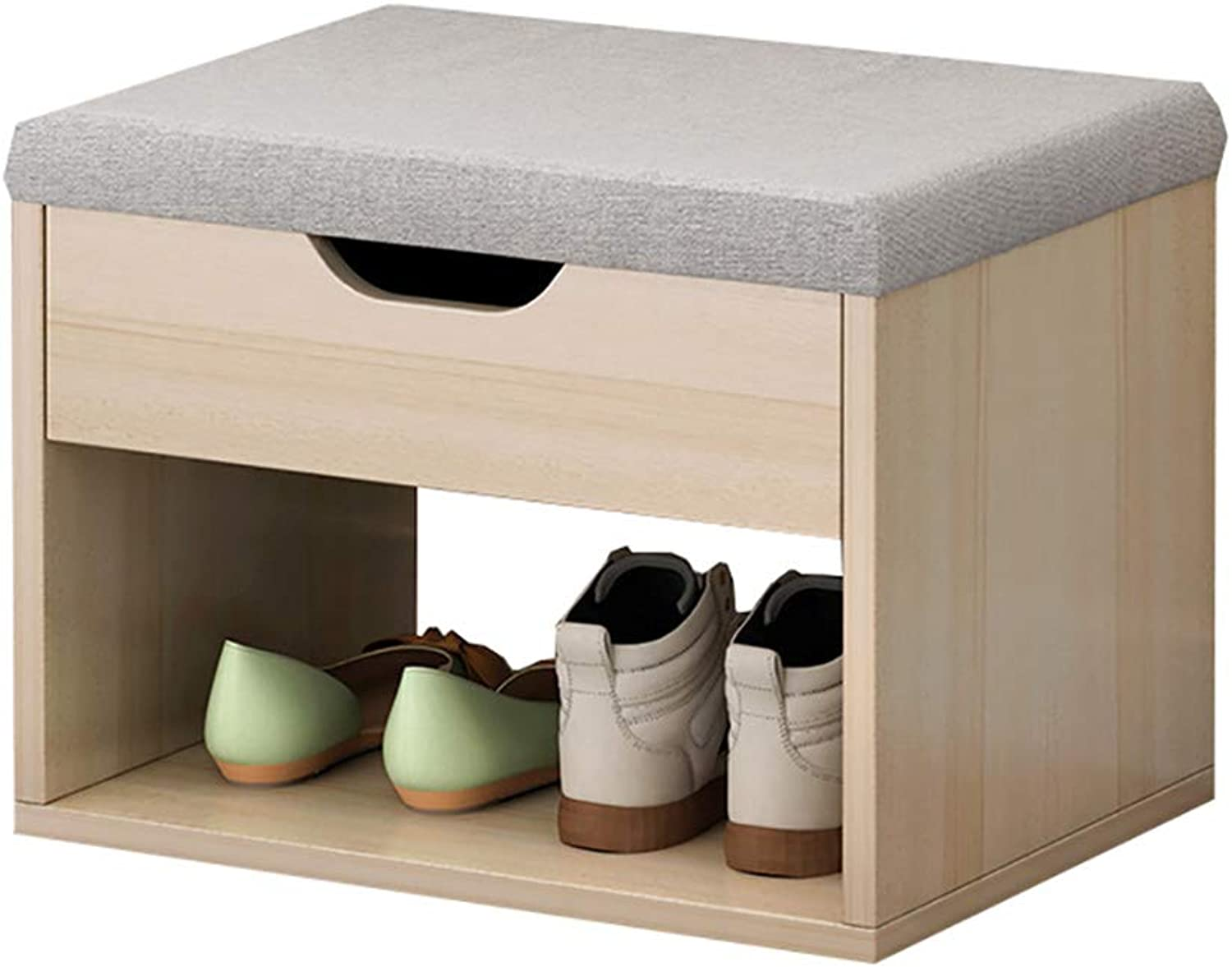 YXX- Small Wooden shoes Racks Bench 2 Tiers Wood Storage Stool for Door & Entryway, 40x30x25cm