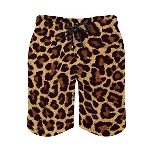Huayuanhurug Custom Men's Cheetah Leopard Brown Swim Trunks Summer Surfing Beach Shorts Board Pants Quick Dry with Pockets