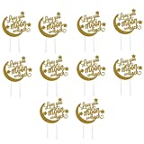 Wedding Cake Topper Love You To The Moon and Back Cupcake Toppers Toothpicks Dessert Cake Decor for Weddings Engagement Birthday Party - Golden