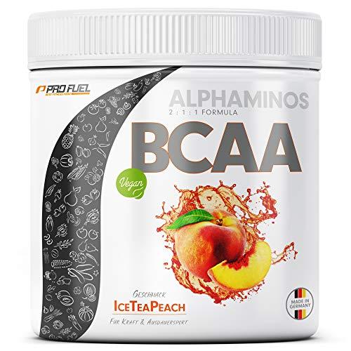 BCAA Pulver 300g - TESTSIEGER - ALPHAMINOS BCAA 2:1:1 - Das ORIGINAL von ProFuel | Essentielle Aminosäuren | Unfassbar leckerer Geschmack (Ice Tea Peach)