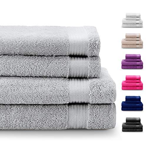 Set di 4 Pezzi Asciugamani in 100% Cotone, Senza Prodotti Chimici - 2 Asciugamani e 2 Telo da Doccia - Oeko Tex - Super Assorbenti - Ideali per la Casa, Il Bagno, Lo Sport, la Palestra, la Piscina