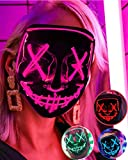 Lizber Led Mask Halloween Mask, Light Up Mask with Neon El Wire, 3 Light Modes Scary Cosplay Mask, Festival Party Glow in The Dark Mask Costume, Glowing Mascara Led Creepy Mask for Kids, Hot Pink