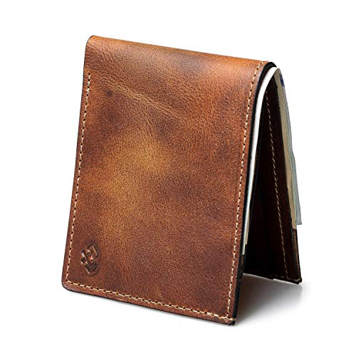 Bifold Leather Wallet For Men | Made in USA | Mens Bifold Wallets | American Made | Tobacco...