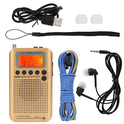 Draagbare radio, multifunctionele all-band radio-ontvanger SQ Ruisonderdrukking Ondersteunt externe luidsprekers en inzetstukken Oortelefoons, voor Air/FM/AM/SW/VHF/CB-band