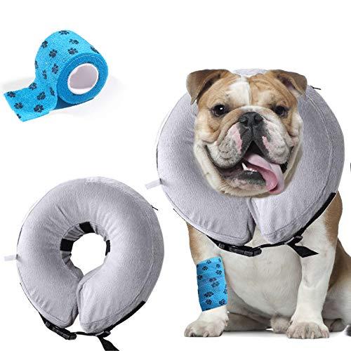 AILITRADE Collares de perro básicos inflables para perros grandes, cono cómodo del collar del animal doméstico para la recuperación