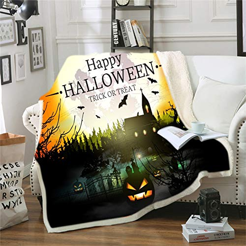ZHYY Custom DIY Print Halloween Kostuums Horror Enge Halloween Deken Dikke Warm Anti-Pilling Draagbare Kinderen Volwassen Deken