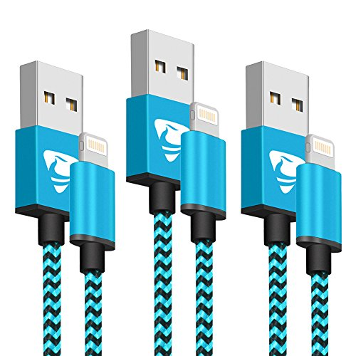 Aione Cable iPhone 2M [3 Pack] Cable Lightning MFi Certificado - Trenzado de Nylon Cargador iPhone para iPhone X/XR/X MAX/8/7/6s/6/SE/5s/5c/ 5(Azul)