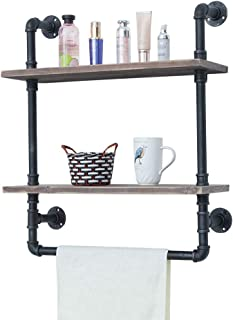 Industrial Bathroom Shelves Wall Mounted 2 Tiered,Rustic 24in Pipe Shelving Wood Shelf With Towel Bar,Black Farmhouse Towel Rack,Metal Floating Shelves Towel Holder,Iron Distressed Shelf Over Toilet