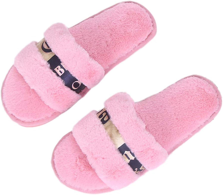 Nafanio Women Winter Slippers Open Toe Home Indoor Home shoes Designer Flats Ladies Bedroom Warm Sandals