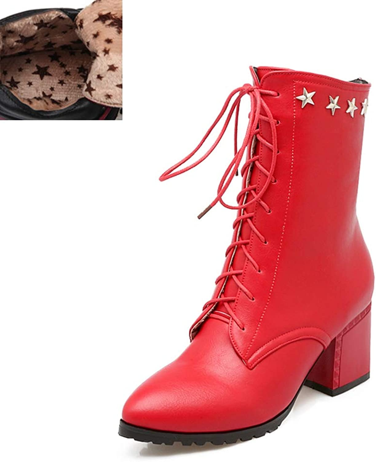 Btrada Women's Ankle Boots Stars Decoration Fashion Square Heels Winter shoes Lace Up Zipper Sexy Booties