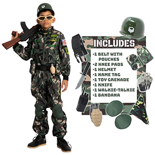 Spooktacular Creations Child Boy Army Special Forces Costume (Small (5-7 yr)) Green