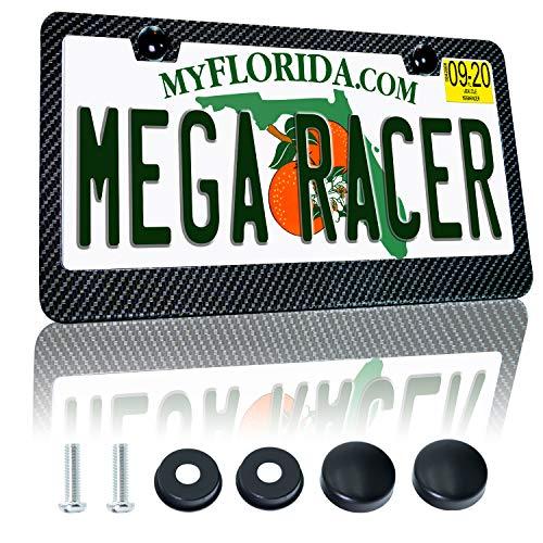 Mega Racer Carbon Fiber License Plate Frame - Black Aluminum Metal with 3K 2x2...