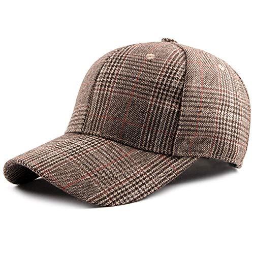 LENGXDR Cap Damen Vintage Tweed Outfit Baseball Cap Kariertes Muster Gebogener Rand Verstellbare Schnalle Khaki Grau C