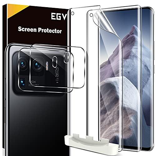EGV Compatibile con Xiaomi Mi 11 Ultra Protector de Pantalla,2 Pack Protector Pantalla e 2 Pack Protector de Lente de Cámara