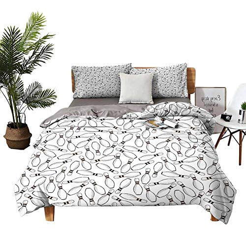 DRAGON VINES Bed Sheets Bowling Party Twin Bed Sheets Sketchy Bowling Pins Pattern Hand Drawn Style Monochrome Hobby Print W79 xL90 Dark Brown White