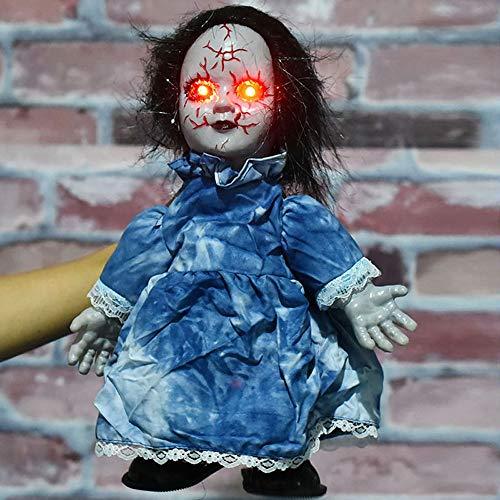 Gnohnay Halloween Gruselige Puppen Beängstigend, Induktion Gehen Besessen Puppe mit Ton, Böse Horror Grimmige Puppe Halloween Kostüm Party Dekor Prop,D