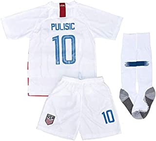 2018/2019 New USA 10 Pulisic Kids/Youths Home Soccer Jersey & Shorts & Socks Color White (6-11years)