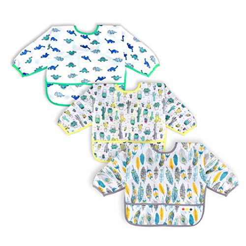 3 Pcs Long Sleeved Bib Set | Baby Waterproof Bibs with Pocket Bundle | Toddler Bib with Sleeves and Crumb Catcher | Stain and Odor Resistance Play Smock Apron