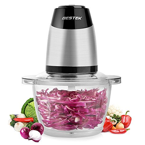 Electric Food Chopper, BESTEK 300W Mini Food Processor, 5-Cup Glass Bowl Grinder for Meat, Vegetables, Fruit and Nuts with High/Low Speed Choice