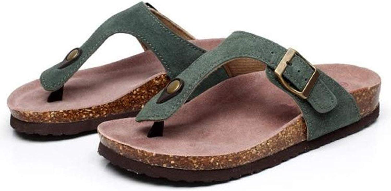 Womens Flip Flops Flat Casual Cork Thong Sandals with Buckle Strap Summer Beach Slipper