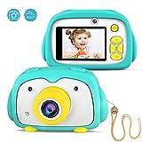 FISHOAKY Appareil Photo Numerique, 12 MP Appareil Photo Enfants avec Selfie / Zoom x4 / 2 Pouces LCD / 1080P HD, Rechargeable Caméra Numérique pour 3 à 10 Ans Enfants(Green)