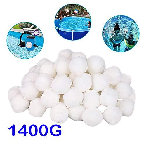 CICIYONER Filterballs für sandfilteranlagen,Filterbälle für Pool, Schwimmbad, Filterpumpe, Aquarium Sandfilter 200g/500g/700g/1400g ersetzen 7kg /18kg /25kg /50 kg Filtersand (1400)