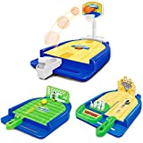 Sports Games Set (3 in 1) Mini Desktop Table Basketball Game Bowling Game Football Game,Fun Desktop Sports Toy,Suitable for Travel,Parties.