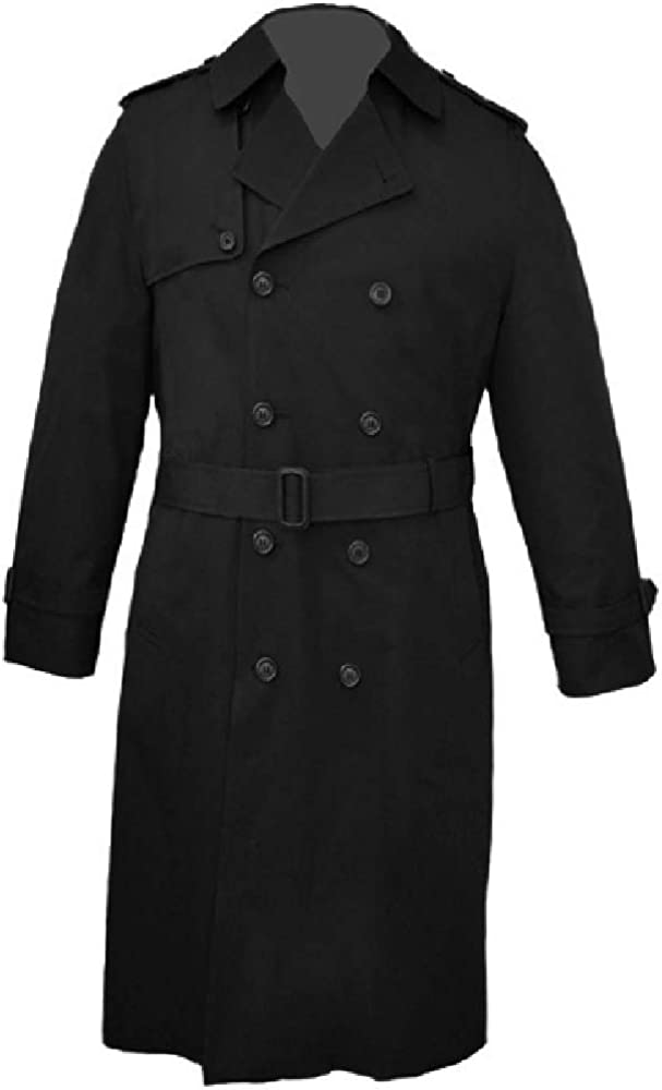 Big and Tall USA Made Classic Double Breasted Trench Rain Coat to Size 60 in Short, Regular, and Long Sizes Navy and Black