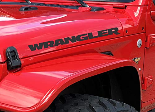 2X Compatible with Wrangler Hood Decals Stickers Gloss Black 23' x 2'...