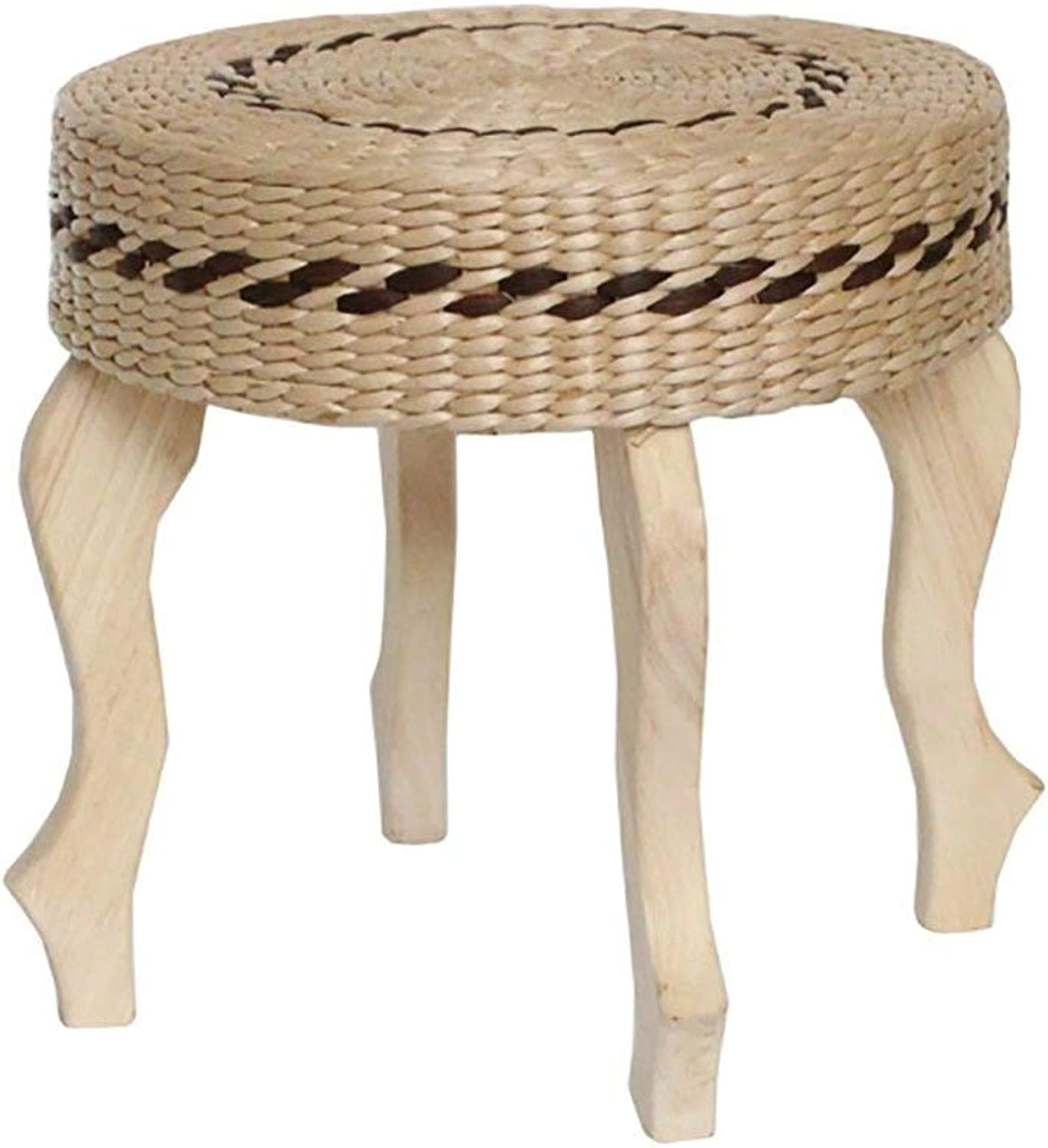 Modern Fashion Hand - Woven Table Stool Stool Wood Stool Knit Stool Natural Weaving Living Room Stool CONGMING (color   A)