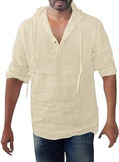 Mens Linen Cotton Hooded Pullover Lightweight Hoodies Long Sleeve Casual Summer Hoody T Shirt Button Top
