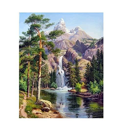 DSJDSFH DIY Ölgemälde Malen Nach Zahlen Erwachsene DIY Handgemalt Ölgemälde 16X20 Zoll Leinwanddruck Wandkunst Dekoration Wasserfall (Ohne Rahmen)