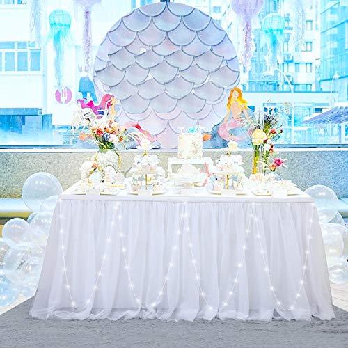 HBBMAGIC 3 Capas de Malla mullida Tabla de tutú Falda de vajilla de Tul para la Fiesta de Bodas de cumpleaños Decoración para el hogar Con LED Blanco, 275 * 76CM