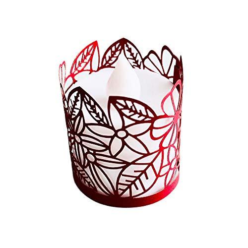 Fautly LED-Teelichthalter, 24 Stück, flammenlose Papier-Kerzen mit Blumen, Laserschnitt, Blumen-Lampenschirm für Hochzeit, Party, Tischdekoration rot