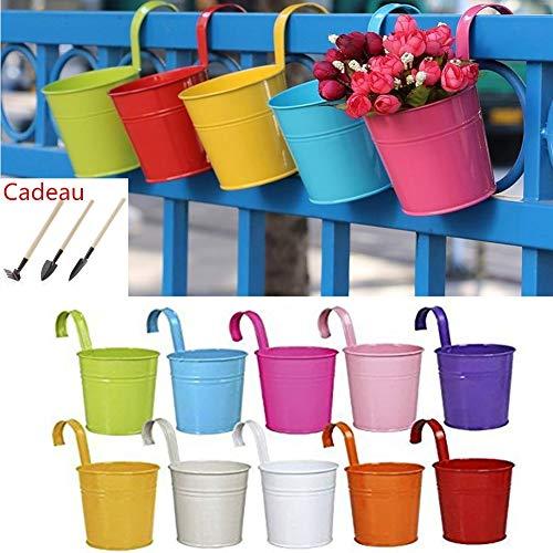 10Stück Metall Eisen Blumen Topf, Blumentopf Eisen Eimer mit abnehmbarer Haken zum Aufhängen und ablauflöcher für Haus Garten Balkon Decor