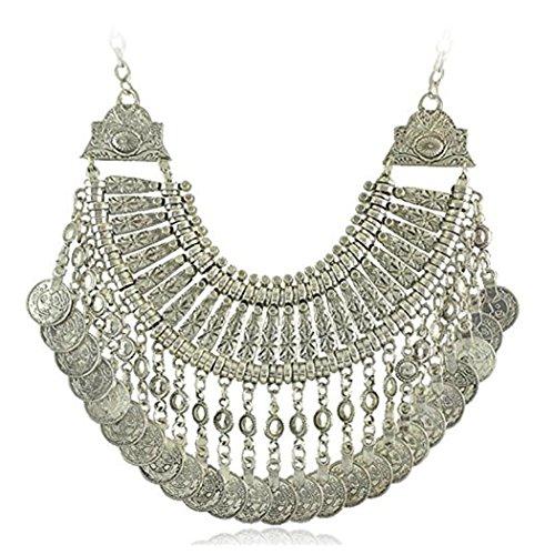 Idealway - Collana stile boho, etnico turco, indiano, tribale, zingara in argento