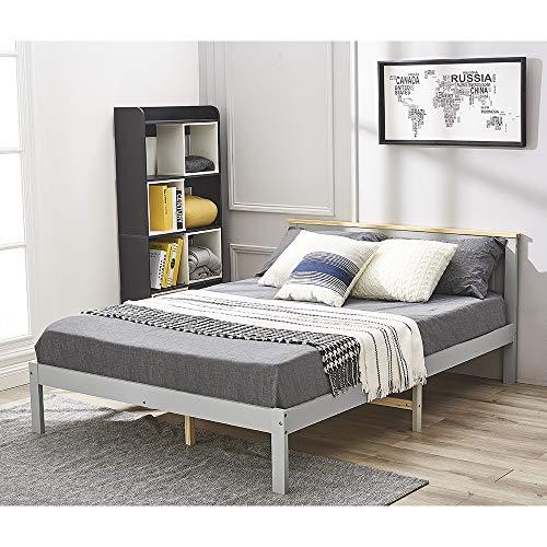 Panana Cama de matrimonio, marco de cama, madera de pino macizo, cabecero, extremo de pie bajo, mueble de dormitorio (gris + natural)