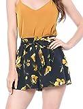 Allegra K Women Elastic Waist Floral Print Summer Boho Beach Shorts Large Blue