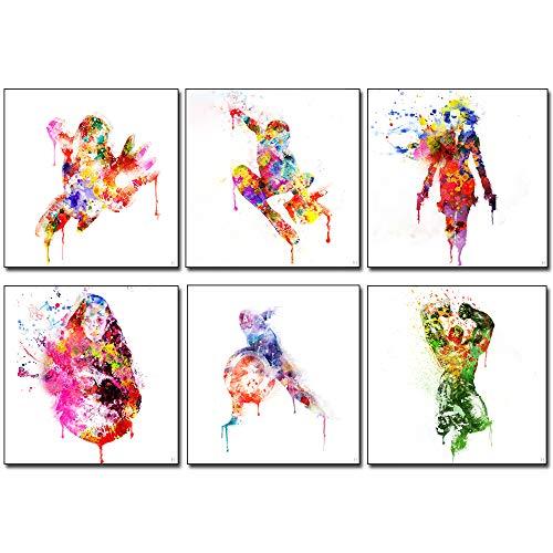 HinchJone Superhero Wall Art Photos Set of 6 Watercolor Canvas Print Art (12x12 inch)